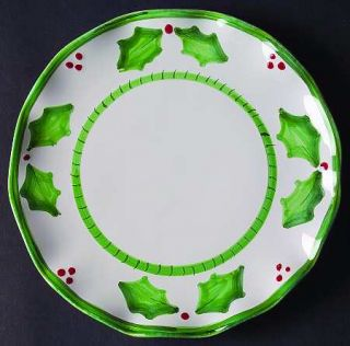 Anne Hathaway Holly Jolly Salad Plate, Fine China Dinnerware   Holly/Berries,Gre