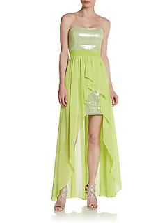 Strapless Sequin Hi Lo Dress   Chartreuse