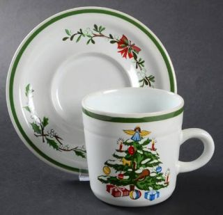 Montgomery Ward Holiday Flat Cup & Saucer Set, Fine China Dinnerware   Christmas
