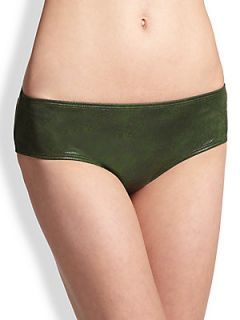 PRISM Biarritz Mini Bikini Shorts   Green Cracked