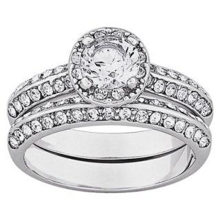 Vintage Brilliant CZ & Inlaid Crystal 2 Piece Wedding Ring Set