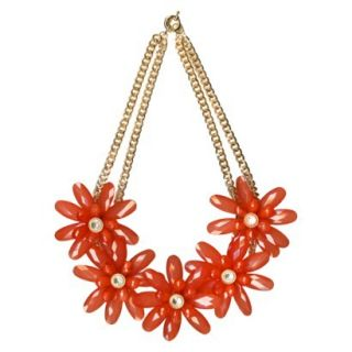 Womens Beaded Flower Frontal Statement Necklace   Gold/Coral