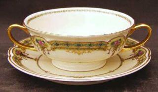 Black Knight Blk3 Footed Cream Soup Bowl & Saucer Set, Fine China Dinnerware   U