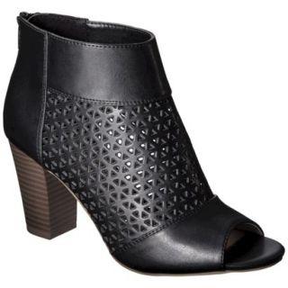 Womens Mossimo Marie Perforated Peep Toe Heel   Black 8.5