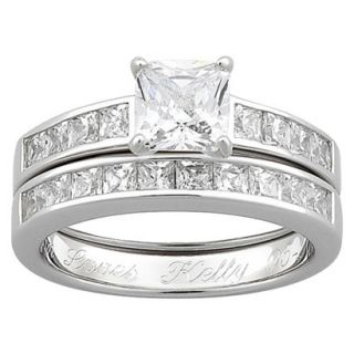 Sterling Silver Cubic Zirconia 2 piece Square Engraved Wedding Ring Set   7