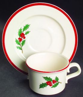 Taylor, Smith & T (TS&T) Holly & Spruce Red Trim Flat Cup & Saucer Set, Fine Chi