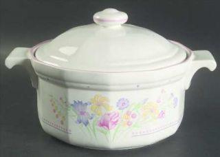 Sarma Studios Victorian Flowers 1.50 Qt Round Covered Casserole, Fine China Dinn