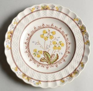 Spode Wicker Dell Salad Plate, Fine China Dinnerware   Chelsea Wicker, Floral Ri