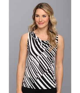 Calvin Klein Cross Stripe Drape Neck Print Womens Sleeveless (Black)