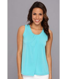 Anne Klein S/L Pleat Neck Top Womens Sleeveless (Blue)