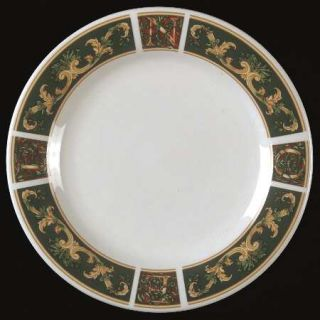 Gibson Designs Christmas Noel Salad Plate, Fine China Dinnerware   Green Panels,
