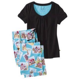Nick & Nora Womens Knit Pajama Set   Monkey Travels Globe L