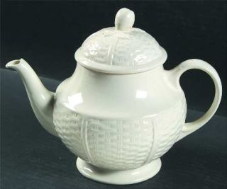 Wedgwood Willow Weave Teapot & Lid, Fine China Dinnerware   All White, Embossed