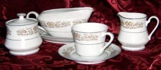Montgomery Ward Essex Flat Cup & Saucer Set, Fine China Dinnerware   Floral Rim