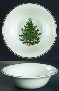 Cuthbertson Christmas Tree (Narrow Green Band,White) 9 Round Vegetable Bowl, Fi
