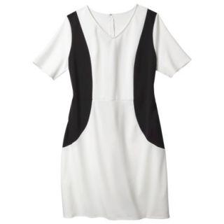 Merona Womens Plus Size V Neck Colorblock Ponte Dress   Cream/Black 3