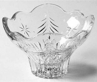 Mikasa Christmas Night Footed Bowl   Clear, Cut Christmas Trees&Stars,Scallop