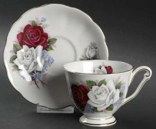 Queen Anne (England) Duet Footed Cup & Saucer Set, Fine China Dinnerware   Red &
