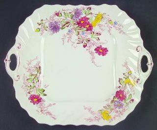 Spode Fairy Dell (Swirled) Square Handled Cake Plate, Fine China Dinnerware   Mu