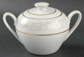 Fine China of Japan Queens Brocade Sugar Bowl & Lid, Fine China Dinnerware   Whi