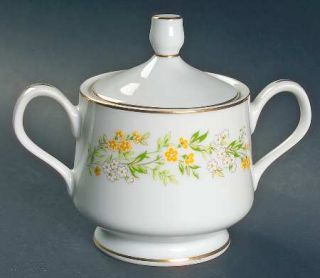 Four Crown Contessa Sugar Bowl & Lid, Fine China Dinnerware   Four Crown,Yellow&