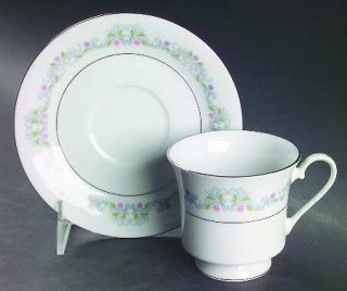 Crown Ming Windsor Footed Cup & Saucer Set, Fine China Dinnerware   Purple&Pink
