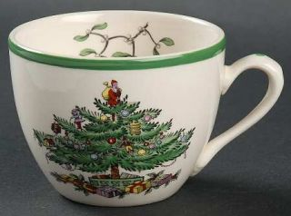 Spode Christmas Tree Green Trim Flat Cup, Fine China Dinnerware   Newer Backstam