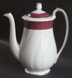 Wedgwood Crown Ruby Coffee Pot & Lid, Fine China Dinnerware   Bone, Ruby, Swirle