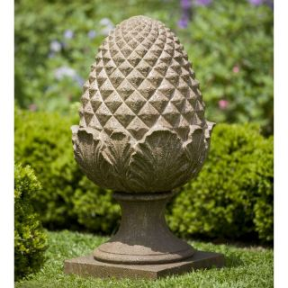Campania International Williamsburg Grand Pinecone Cast Stone Garden Statue   S