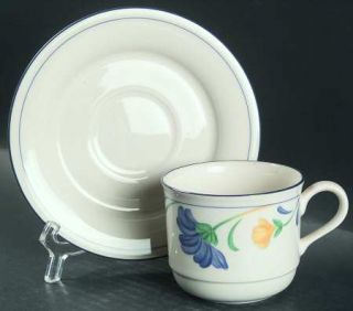 Lenox China Buttercups On Blue (For The Blue) Flat Cup & Saucer Set, Fine China