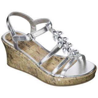 Girls Cherokee Hallie Wedge Sandals   Silver 13