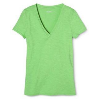 Womens Vintage V Neck Tee   Pristine Green   S