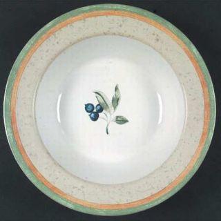 Interiors (PTS) Blueberry Large Rim Soup Bowl, Fine China Dinnerware   Blueberri