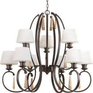 Progress Lighting PRO P4529 20 Club 9 Light, 2 Tier Chadelier with Tea Stained G