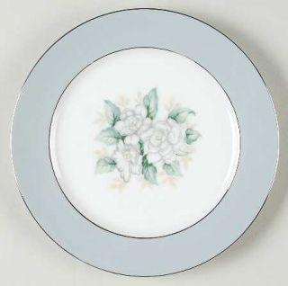Harmony House China Sheraton Salad Plate, Fine China Dinnerware   Gray Rim,White