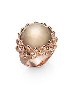 Smoky Quartz, White Mother of Pearl & 18K Rose Gold Vermeil Ring