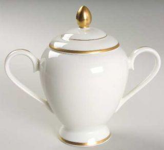 Gorham Masterpiece Gold Sugar Bowl & Lid, Fine China Dinnerware   Ivory Backgrou