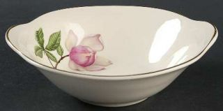 Crooksville Delmar Diana Lugged Cereal Bowl, Fine China Dinnerware   White&Pink