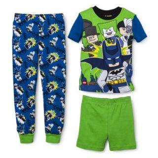 Batman Boys 3 Piece Short Sleeve Pajama Set   Blue 4