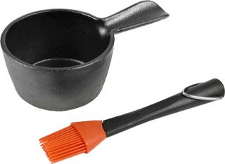 Charcoal Companion Cast Iron Sauce Pot with Silicone Basting Brush   Black/Red E