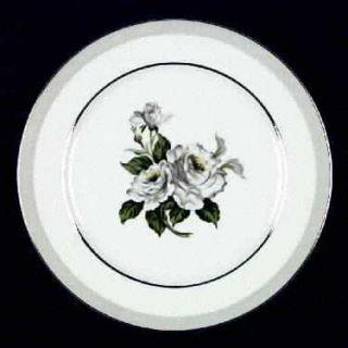 Japan China White Rose (Platinum) Dinner Plate, Fine China Dinnerware   White &