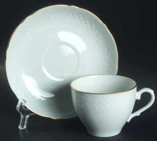 Oscar De La Renta Dresden Gold Flat Cup & Saucer Set, Fine China Dinnerware   Ra