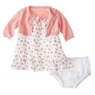Cherokee Newborn Infant Girls 3Pc Floral Dress Set   White/Pink 6 9 M