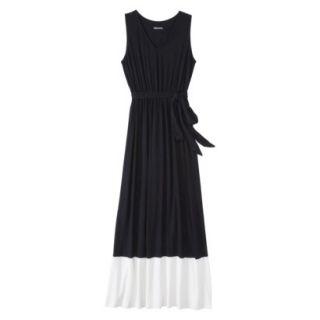 Merona Womens Knit Colorblock Maxi Dress   Black/Sour Cream   XS