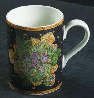 Sasaki China Ravenna Charcoal Mug, Fine China Dinnerware   Fruit&Leaves On Charc