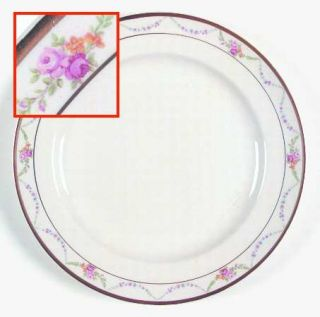 Edwin Knowles Garland Dinner Plate, Fine China Dinnerware   Pink Roses, Floral