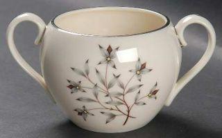Lenox China Princess Sugar Bowl No Lid, Fine China Dinnerware   Gray & Tan Flora