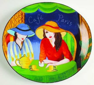 Misono Cafe Paris Dinner Plate, Fine China Dinnerware   French Cafe Scenes, Blac