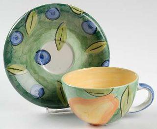 Bob Mackie Bom2 Flat Cup & Saucer Set, Fine China Dinnerware   Pears,Plums,Green