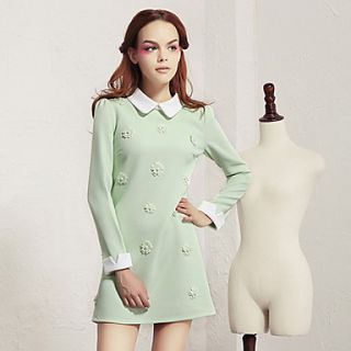 Lishang Womens Cute Doll Collar Solid Color Long Sleeve Dress(Screen Color)